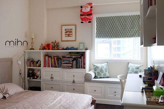 Rèm roman phòng ngủ màu xanh