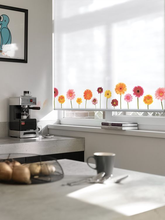 Expressions Roller Blind - fun design add a punch of colour to the kitchen. Luxaflex Roller Blinds.  #home decor #kitchen #luxaflex
